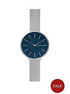 skagen-skagen-karolina-stainless-steel-and-mesh-with-blue-dial-ladies-watch