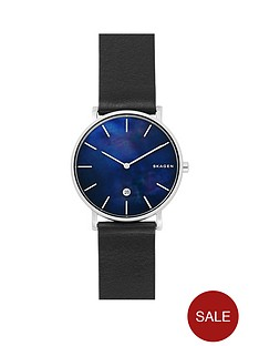skagen-skagen-hagen-stainless-steel-black-leather-strap-mens-watch-with-mother-of-pearl-dial