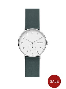 skagen-skagen-hagen-stainless-steel-green-leather-strap-mens-watch-with-matte-white-dial