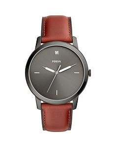 fossil-fossil-minimalist-3-hand-polished-smoke-case-with-tonal-dial-brown-leather-strap-mens-watch