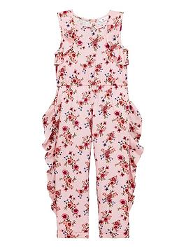0cbcc19cedc Mini V by Very Girls Ruffle Floral Jumpsuit - Pink ...
