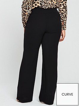 160dbf30ba83 V by Very Curve High Waisted Wide Leg Trouser - Black ...