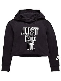 Nike Older Girls JDI Hoodie Crop - Black 9a2f97631