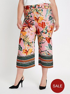 ri-plus-tropical-print-cropped-wide-leg-trouser-pink