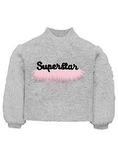 mini-v-by-very-girls-superstar-faux-fur-trim-jumper