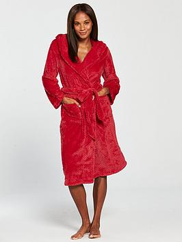 V by Very Hooded Dressing Gown - Red  40b29bd5a