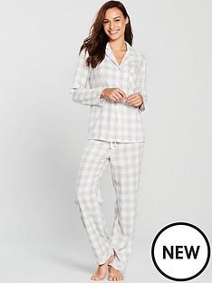 V by Very Revere Flannel Pyjamas - Grey Check 6f7cdbdec