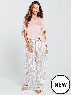 v-by-very-jersey-top-and-woven-bottoms-pyjama-set-pink-check