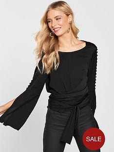 v-by-very-satin-split-sleeve-tie-detail-top-black