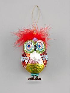 gisela-graham-painted-glass-owl-hanging-christmas-tree-decoration