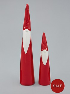gisela-graham-set-of-2-tall-red-and-white-nordic-santa-ceramic-christmas-room-decorations