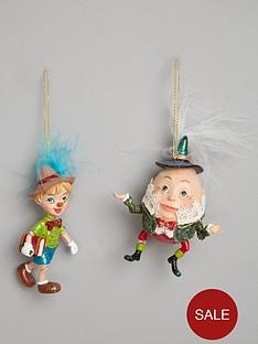 gisela-graham-humpty-dumpty-amp-pinocchio-christmas-tree-decorations