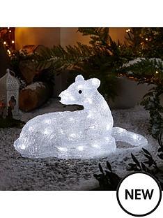 spun acrylic light up reindeer outdoor christmas decoration littlewoodsirelandie - Christmas Hippo Outdoor Decoration