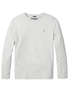 3a6e16fb Tommy Hilfiger Boys Essential Long Sleeve Flag T-Shirt - Grey Heather