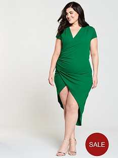 ax-paris-curve-cap-sleeve-wrap-midi-dress-jade-green