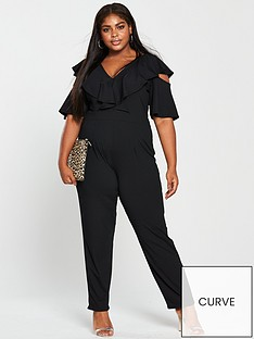 2ab5f7e941 Lost Ink Plus Lost Ink Plus Jumpsuit With Cold Shoulder In Rib