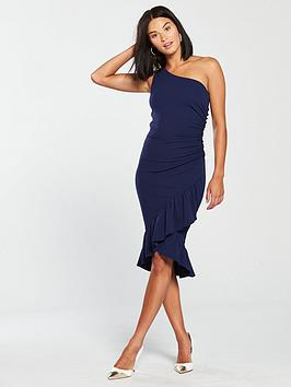 Dress Shoulder  Hem Midi Paris AX Navy Ruffle One Clearance Store Gzqk2w4u93
