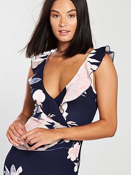 Floral Paris Midi Hem Frill Dress AX Navy  Print Outlet Exclusive fxWTm4A