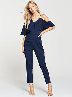 d43465b7a4 Lavish Alice Asymmetric Off The Shoulder Tapered Jumpsuit - Navy