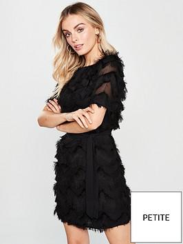 36859512cbd V by Very Petite Zig Zag Fringe Tunic Dress - Black ...