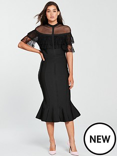 forever-unique-bandage-cape-bodycon-midi-dress-black