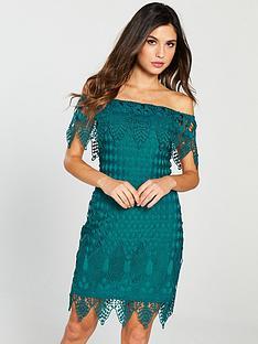forever-unique-bardot-mini-dress-green
