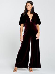 478a9c42c1 Forever Unique Cape Sleeve Jumpsuit - Burgundy