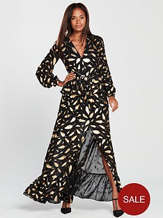forever-unique-feather-print-dress