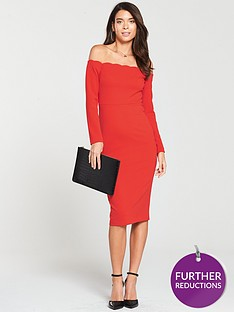 v-by-very-scalloped-off-shouldernbspbodyconnbspdress-red