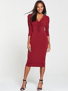 8a109b60b7 V by Very Ruched Front Ity Bodycon Dress - Burgundy