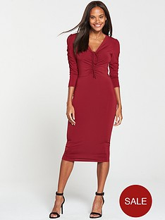 V by Very Ruched Front Ity Bodycon Dress - Burgundy 67a06c637