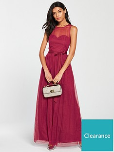 839f91bb352 Little Mistress Mesh Top Maxi Dress - Berry
