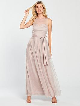848d8570d49 Little Mistress Mesh Top Maxi Dress - Grey
