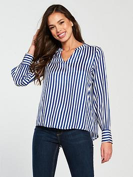 Where To Buy Low Price Cheap Sale Low Shipping Fee Vero Long Bloom Shirt Moda  Blue Sleeve Stripe 47RmtnOdmA