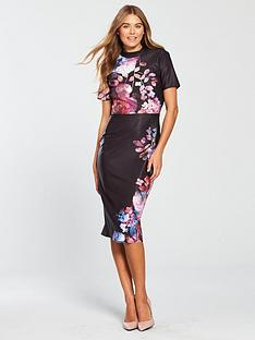 10298bc59f8 Little Mistress High Neck Floral Bodycon Dress - Printed