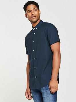 v-by-very-mens-short-sleeved-oxford-shirt-navy
