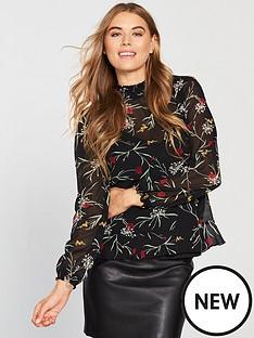03fdae33834e Vero Moda Becca High Neck Floral Printed Top - Black
