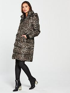 Vero Moda Leopard Print Hooded Padded Coat - Tobacco Brown afd5e7c674