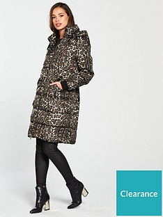 3eb0d9f29 Vero Moda Leopard Print Hooded Padded Coat - Tobacco Brown