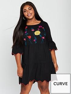 junarose-heva-34-sleeve-embroidered-tiered-dress-blacknbsp