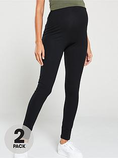 mama-licious-maternity-lea-2-pack-organic-cotton-leggings-black