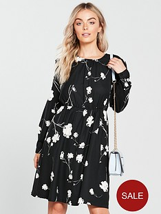 vero-moda-petite-floral-print-dress-black