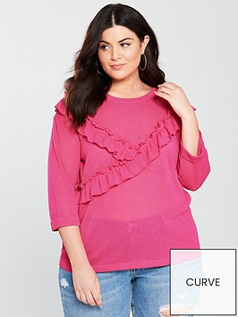 junarose-frill-detail-34-sleeve-light-jumper-magenta