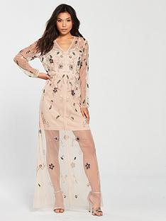 frock-and-frill-frock-amp-frill-v-neck-sheer-detail-embellished-midi-dress