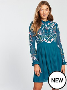 frock-and-frill-embroidered-top-pleated-skirt-skater-dress-blue