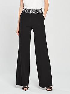 c450caf3e2f0 V by Very Embellished Waist Wide Leg Suit Trouser - Black