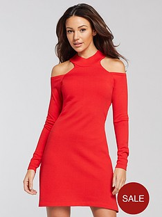 michelle-keegan-cold-shoulder-knitted-dress-red