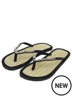 accessorize-chevron-beaded-seagrass-flip-flops-black