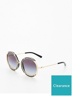 4a91873c76 Ralph Lauren Round Metal Trim 3 4 Rim Sunglasses - Gold