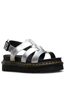 Martens Sandal Metallic Dr Yelena  Leather Silver Flat Official For Sale Clearance 100 Original hNrgP5aG